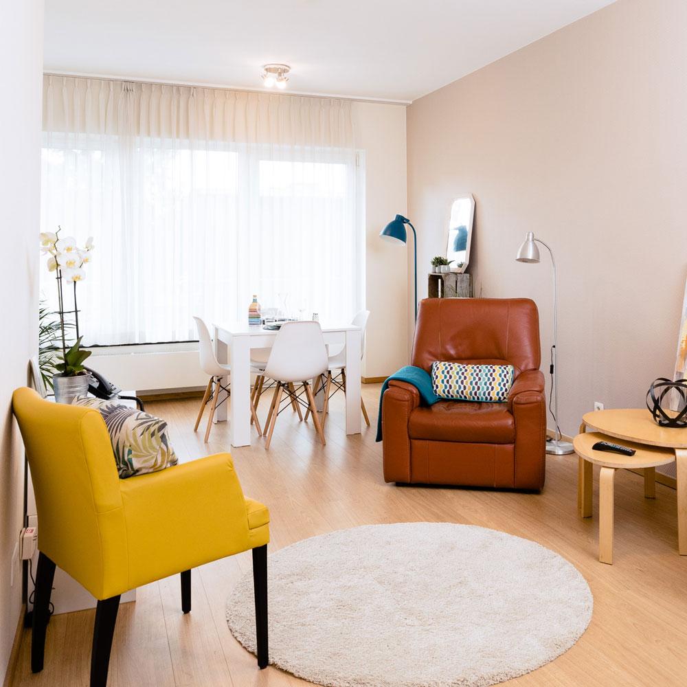 Séjour dans un appartement meublé à la Résidence Accordage