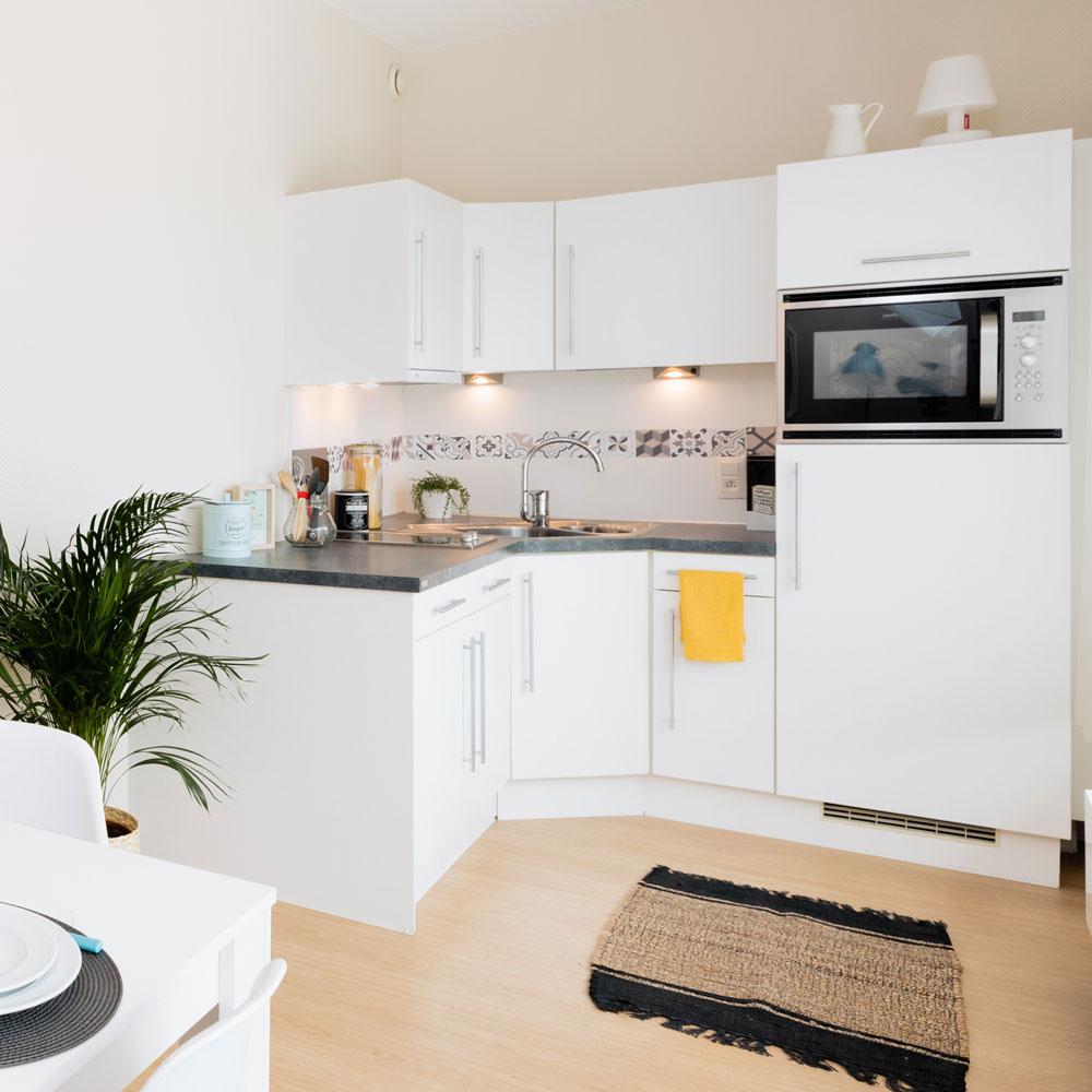 Coin cuisine dans un appartement à la Résidence Accordage
